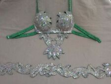 Egyptian Belly Dance Costume bra & Belt Set Professional Dancing Green Silver