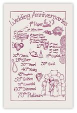 WEDDING ANNIVERSARIES Tea Towel 100% Cotton Natural/Maroon. 2nd Anniversary Gift