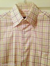 IKE BEHAR - YELLOW/PINK WINDOWPANE COTTON SS SHIRT - MENS M