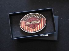 "Harley Davidson Bar & Shield / American ""USA"" Flag Belt Buckle"