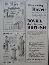 1914 ADVERTS BOVRIL BURBERRY HARRODS MILITARY BLANKETS WATERPROOFS  WW1 WWI