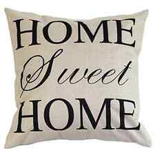 "Cotton Linen Square Decorative Throw Pillow Case ""Home Sweet Home Love"" Words"