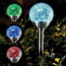 6 x STAINLESS STEEL SOLAR POWERED COLOUR CHANGING LED CRACK BALL GARDEN LIGHTS