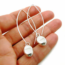 Long 925 Sterling Taxco Silver Ball Bead Threader Earrings