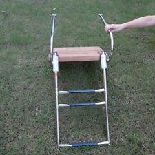 Boat Inboard Teak Swim Platform , 3 Steps Stainless Ladder Rails