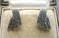 Elegant Art Deco Inspired Silver & Marcasite Stud Earrings