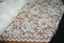 7 x metres Beautiful Jacquard Lace-Roses-Donna by Nettex -213 cm Drop  -Ivory