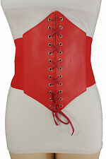 Women Corset Belt Hip High Waist Red Stretch Wide Faux Leather Sexy Fashion S M