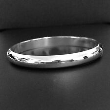 9mm W- Solid 925 Sterling Silver Bangle/Cuff-147- 4mm THK-Half a Round-Polished