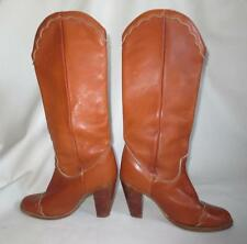 Tall Vtg Zodiac Western Fancy Toe Cap Boots, Campus Boho Size 8M Brown