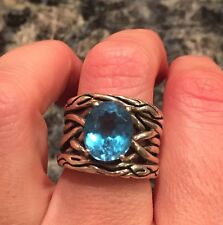 blue topaz ring size 7 sterling silver