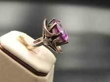 MEXICO STERLING SILVER MODERNIST RING VERY HIGH QUALITY AMETHYST CRYSTAL SIGNED