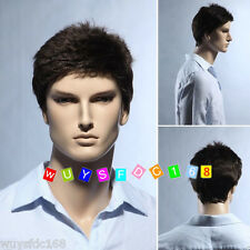 NEW 100% human Hair Men Short wigs Full Virgin Black Wig Hairpiece Toupee black