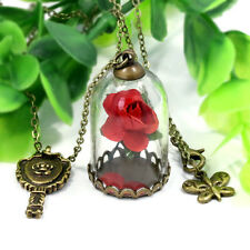 Lovely Beauty and the Beast Inspired Enchanted Rose Dome Bronze Necklace