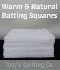 "100-6"" Warm & Natural Cotton Batting Squares Pot Holders Rag Quilt As You Go"
