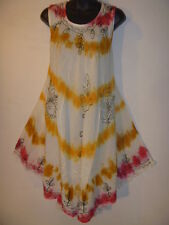 1X 2X 3X 4X Sun~Dress or Long Tunic Top White Red Gold Tie Dye 1~SIZE PLUS 3013