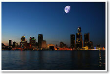 Detroit Skyline at Night -Travel American City Print - NEW POSTER
