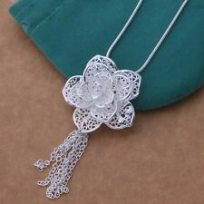 925 Sterling Silver Plated Rose Flower/Petals Necklace & Pendant 18 inches /46cm