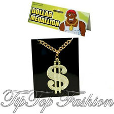 Men 70's Daddy PIMP Gangster Fancy Dress Costume DOLLAR MEDALLION CHAIN NECKLACE