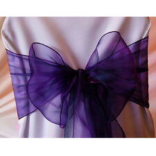 150 CADBURY PURPLE ORGANZA SASHES CHAIR COVER BOW SASH  SASHES BOW UK SELLER