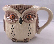 "Vintage 1980 Enesco Textured Ceramic Owl Shaped Mug Cup 3 1/4"" Tall - Japan"
