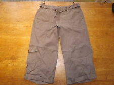 New Ex-BHS Ladies Mink 100% Cotton Crop Trousers Plus Fabric Belt Sz 10 (£18)