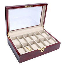 12 Slots Wooden Watch Box Display Clear Top Jewelry Case Organizer