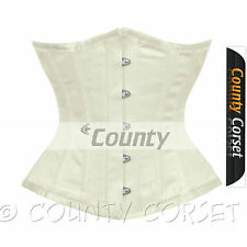 Full Steel Boned Wedding Basques Sexy Shaper Underbust Ivory Satin Corset Korset
