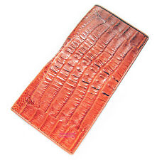 BROWN CROCODILE ALLIGATOR BONE SKIN LEATHER LUXURY CLUTCH PURSE WALLET