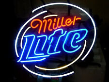 "Brand New MILLER LITE Logo Real Glass Tube Beer Bar Neon Light Sign 16""x 16"""