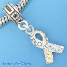DOWN SYNDROME YELLOW BLUE CRYSTAL RIBBON 925 Sterling Silver EUROPEAN Bead Charm