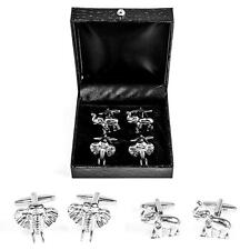 Elephant Head and Trunk Up 2 Two Pairs of Cufflinks Wedding Gift Box Free Ship