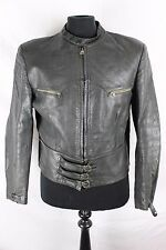 Vintage 30s German Green Flight Motorcycle Biker Leather Jacket Luftwaffe Small