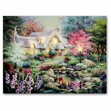 Country Cottage and Garden LED Lit Battery Powered Indoor Wall Canvas