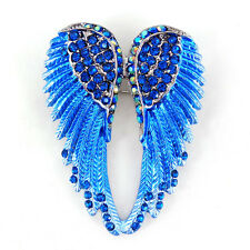 Lovely Blue Angel Wing 5.5cm Long Use Swarovski Crystal Brooch Pin Scarves