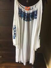 Pia Pauro White Embroidered Cold Shoulder Tunic Dress SZ M