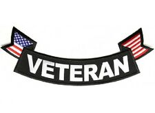 """(L38) VETERAN with FLAG 11"""" x 4"""" Large BOTTOM ROCKER iron on back patch (1013)"""