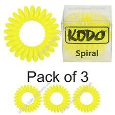 Cable de teléfono bandas para el cabello estilo Amarillo Pack 3 Genuino Kodo espiral PELO Bobbles