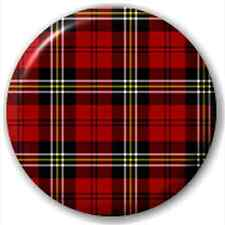 Small 25mm Lapel Pin Button Badge Novelty Red And Black Tartan