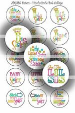 Pre-Cut Bottle Cap Images Sisters Collage Sheet R111 - 1 Inch Circles