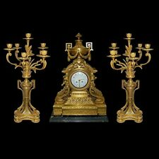French Doré Bronze 3-Pc. Neoclassical Clock Set #2617