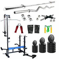 Fitfly Combo Home Gym Set 80kg Weight 20 IN 1 Bench 3ft Curl Rod 5ft Plain Rod