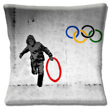 "NEW Banksy Graffiti Artist 'Stealing an Olympic Ring' 16"" Pillow Cushion Cover"