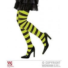 Green & Black Stripe Hoop Tights Witch Halloween Fancy Dress Pantyhose