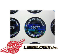 100 CUSTOM PRINTED ROUND BLACK TINT HOLOGRAM SECURITY LABELS STICKERS