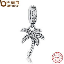 Solid S925 Sterling Silver Crystal palm tree Charms Fitting P Bracelets Bangles