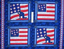 "36"" Fabric Panel - Springs Patriotic Military Soldier's Prayer Pillowcases Blue"