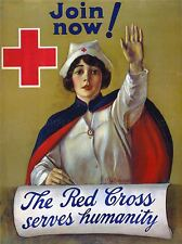 RED CROSS NURSE HUMANITARIAN CHARITY VINTAGE REPRO POSTER ART PRINT 894PYLV
