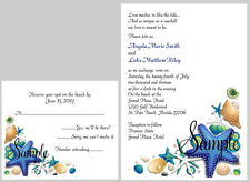 100 Personalized Custom Seashell Beach Bridal Wedding Invitations Set