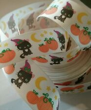 1m g/grain ribbon 22mm cream cat pumpkin moon stars Halloween kids hair bows